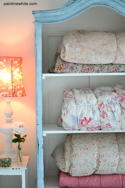French Armoire Makeover – Paint Me White |Storing Comforters