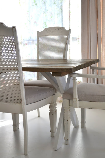 Farmhouse Trestle Table Paint Me White