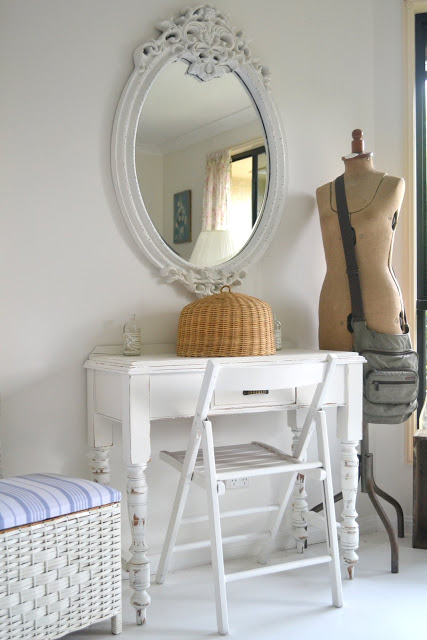 Hall Table White Mirror And A Cute Blanket Box Paint