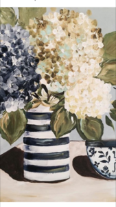 Stag & Hydrangea Painting Workshop with Carolyne Hallum at paint Me White Mudgeeraba
